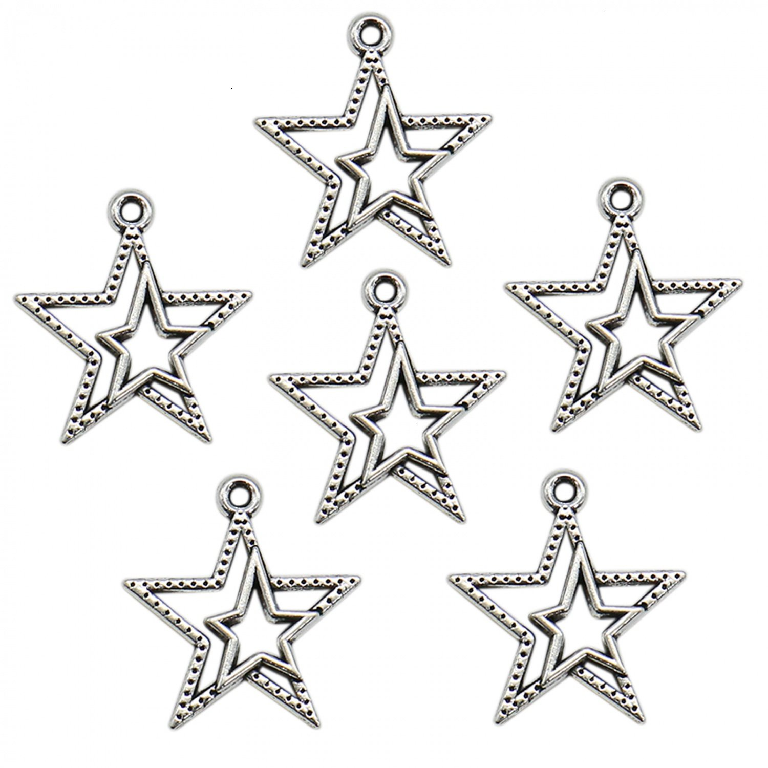 Buorsa 50 pcs Vintage Double Star Sign Metal Charms Metal Beads Silver Color for Jewelry Making DIY Bracelet 4336807016
