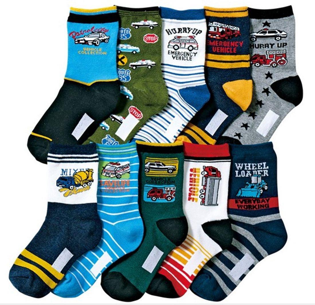 Boys Short Socks Fashion Cartoon Cars Cotton Basic Crew Kids Socks 10 Pair Pack