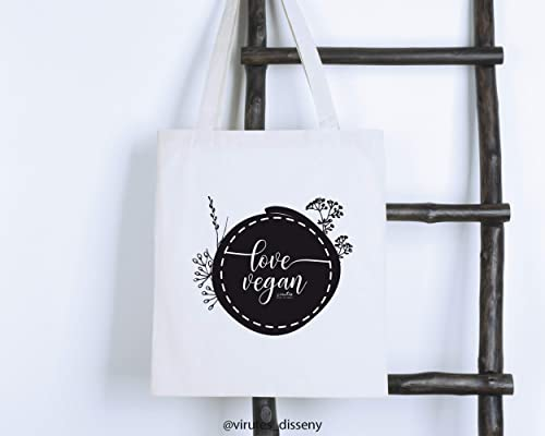 Bolsa algodón Love Vegan // Tote bag para la compra // Bolsa de ...