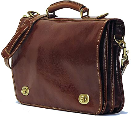 4091efd237f0 Floto Unisex Custom Initials Personalization Roma Messenger Bag with  Italian Calfskin Leather (Custom Brown)