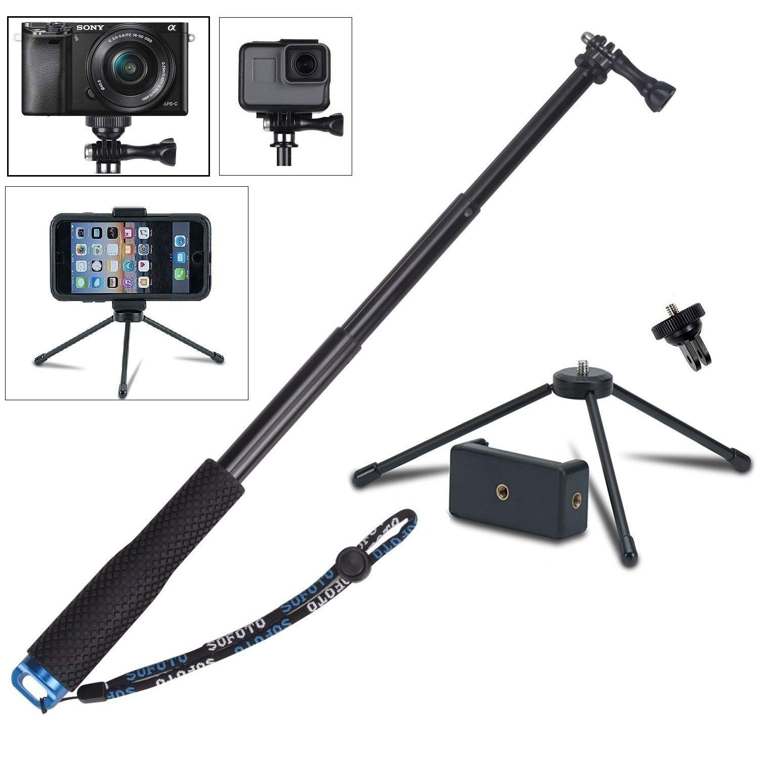 VVHOOY 43 inch Waterproof Action Camera Selfie Stick with Tripod Monopod Stand and CellPhone Holder for GOPRO HERO 6/5/XIAOMI YI/AKASO EK7000/Wewdigi/GooBang Doo/APEMAN 4K Sports Action Camera, Smartphones, and More
