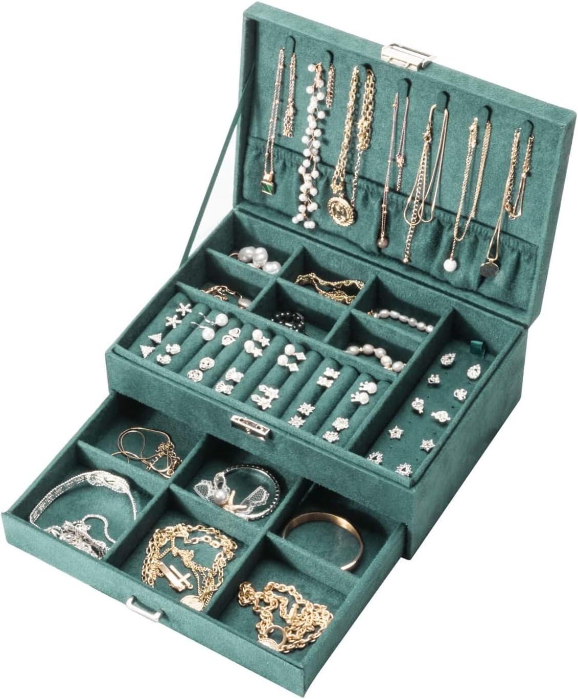 Amasava Joyero Caja de Organizador Terciopelo con Cajon,Viaje Caja de joyer/ía,27 x 19X 10cm,Verde Retro