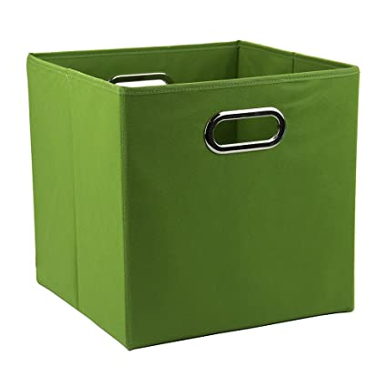 9 Inch Solid Nonwoven Large Foldable Storage Cube (Green)