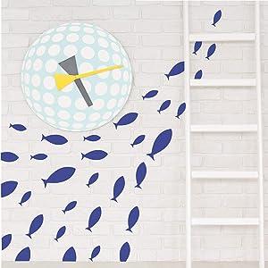 Ocean Fish Wall Decal- Under The Sea Vinyl Wall Stickers for Kids Room Bedroom Bathroom Nursery Decor-Dark Blue