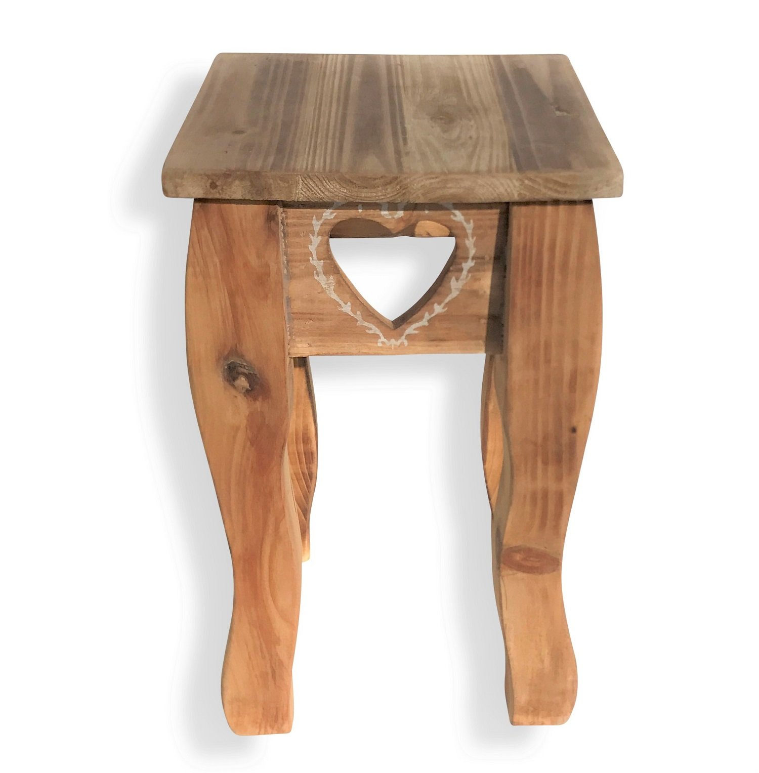 Whole House Worlds The Farmhouse Country Style Table, Side, Accent, or Occasional, Cut Out Hearts, Handcrafted of Sustainable Wood, Natural Color, Rustic White Accents, 13 Inches High, By