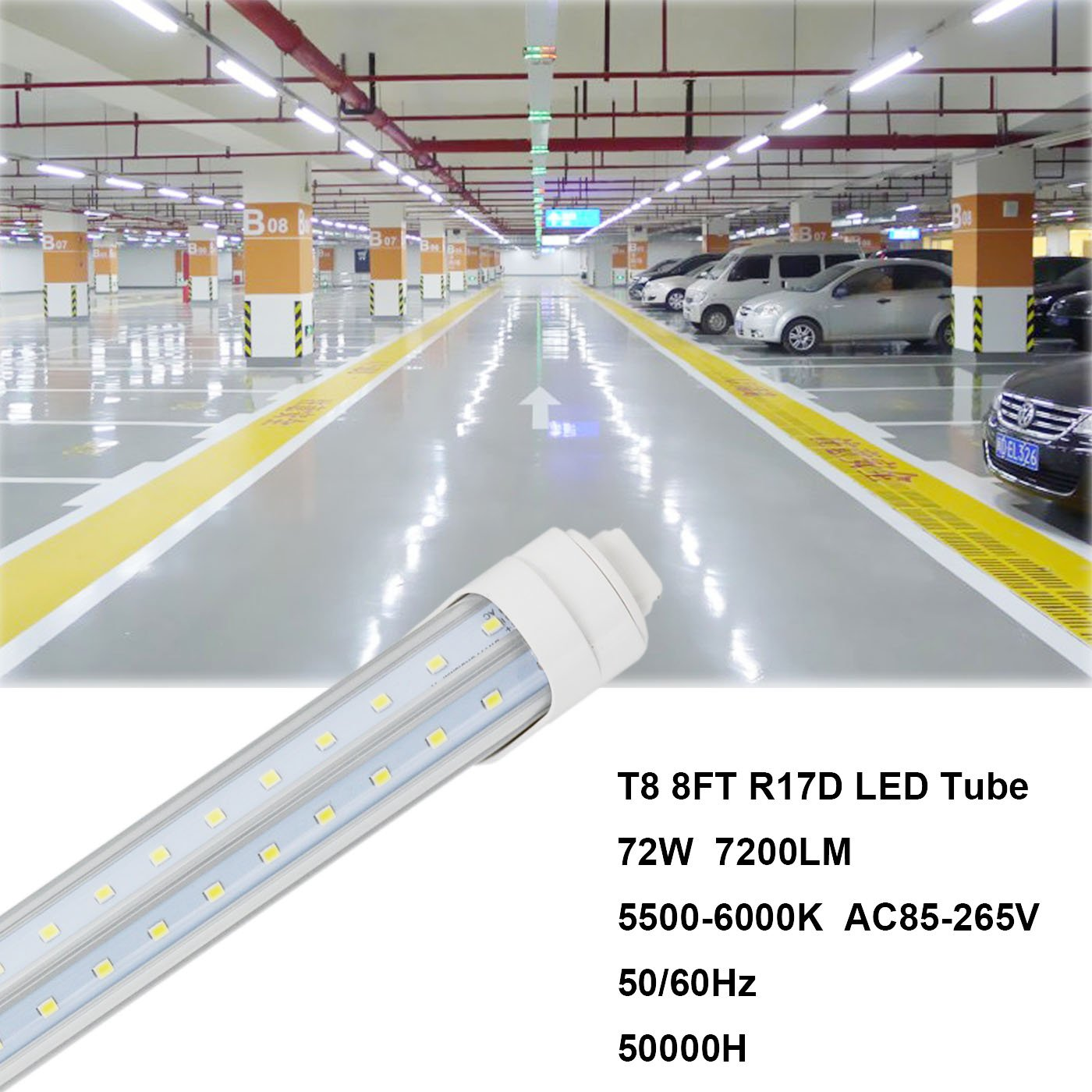 CNSUNWAY 8ft T8 LED Tube, 96'' R17D V-shaped 270° Lighting Bulbs, 6000K Cool White Clean Cover Light, Work Without Ballast (50 Pack, US Stock) by CNSUNWAY LIGHTING (Image #5)