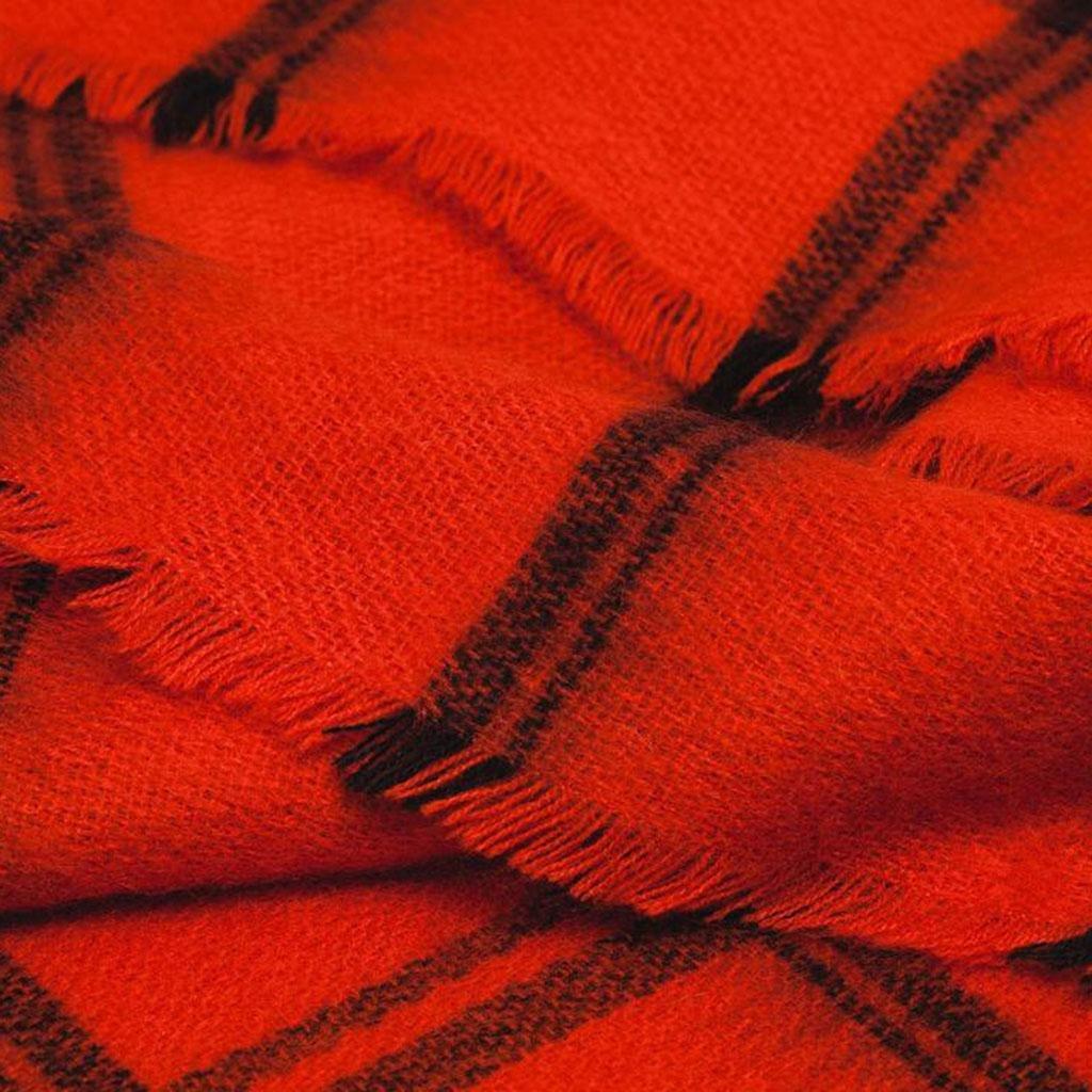 Mujer rojo y negro enrejado Suave Mantener caliente bufanda Frío Moda chal