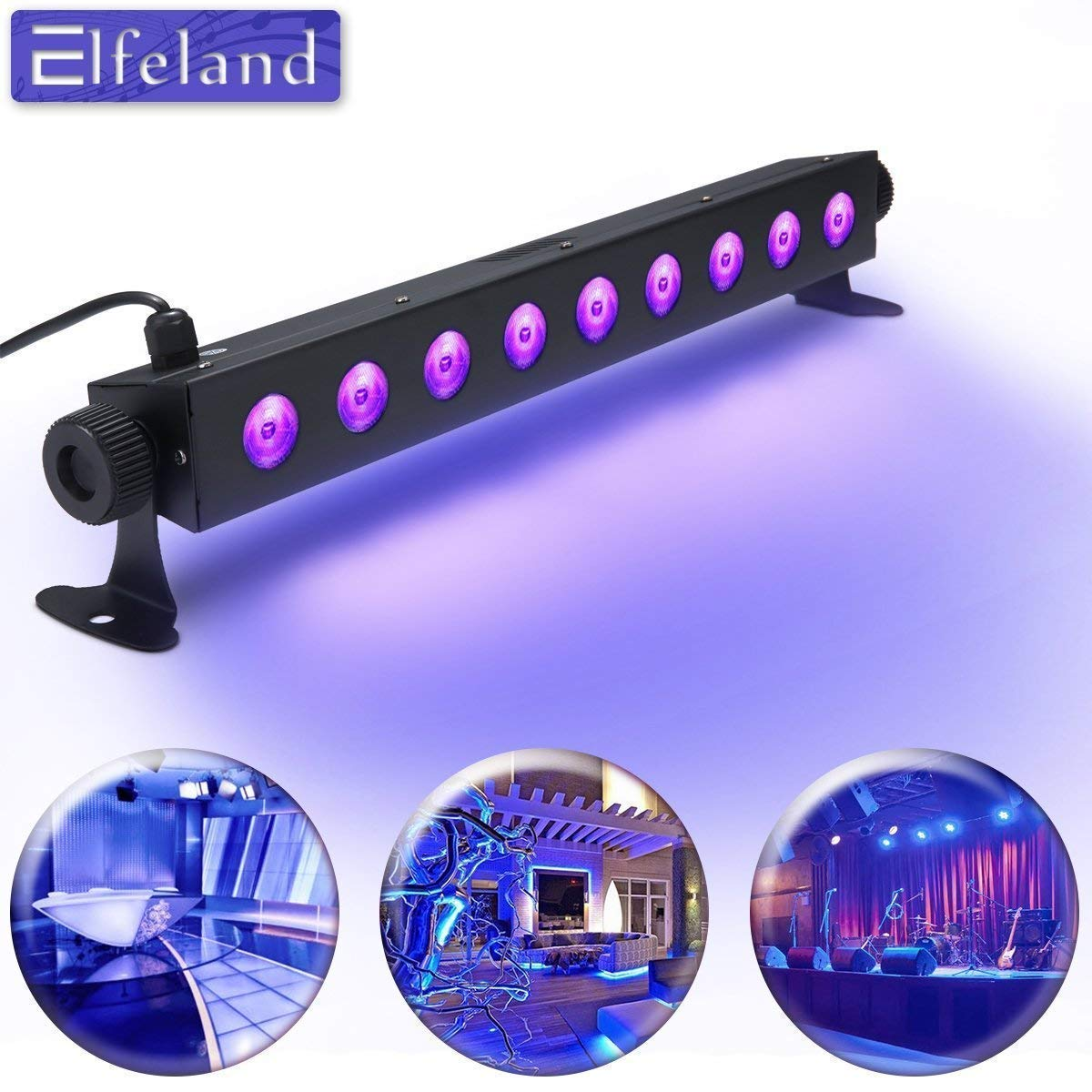 UV Black Light,Elfeland 27W 9LED UV Light Bar Disco Lights Stage Lights for UV Body Paint Blacklight Party Supplies Glow in The Dark Neon Glow Aquarium Curing (100-240V AC)