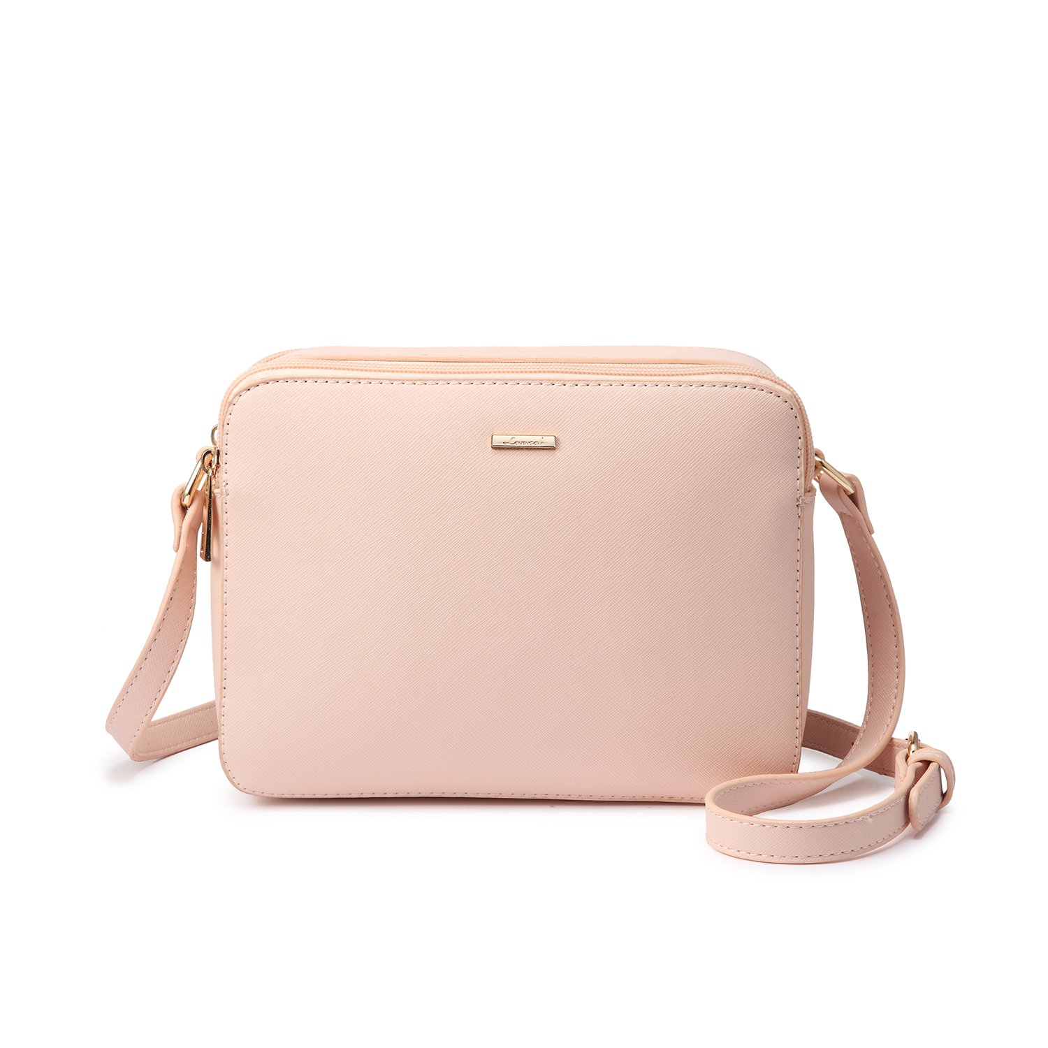 Double Zip Compartments Crossbody Bags for Women - Simple Style (Pink)