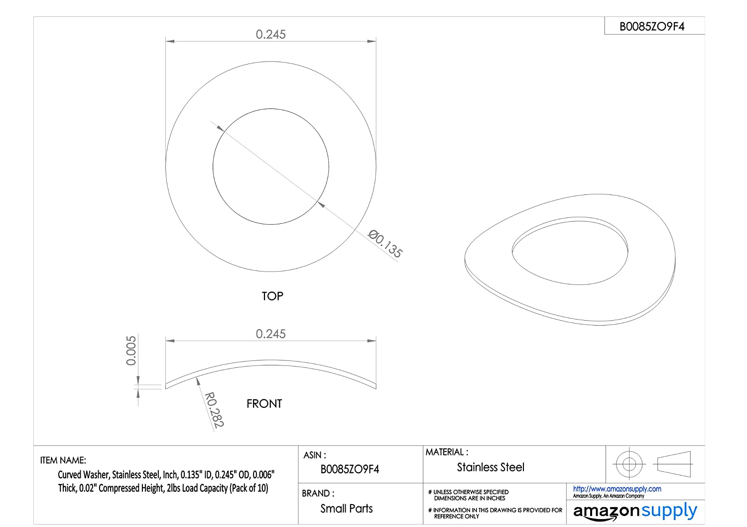 0.006 Thick Inch Pack of 10 Curved Washer 0.245 OD 0.02 Compressed Height 2lbs Load Capacity 0.135 ID Stainless Steel