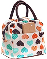 Bags R Us Cute Love Heart Lunch Bag Tote Bag Lunch Organizer Lunch Holder Lunch Container (Pink)