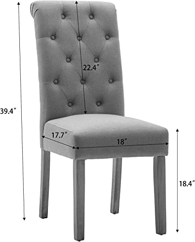 NOBPEINT Fabric Upholstered Dining Chair Solid Wood Leg