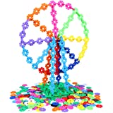 Kids Toy, Jakpak Flakes 500 Pcs Snowflakes Connect Interlocking Plastic Disc Early Educational Building Toys Puzzle Blocks Games Children's Day Birthday Gifts for Child Small Boys Girls Preschool