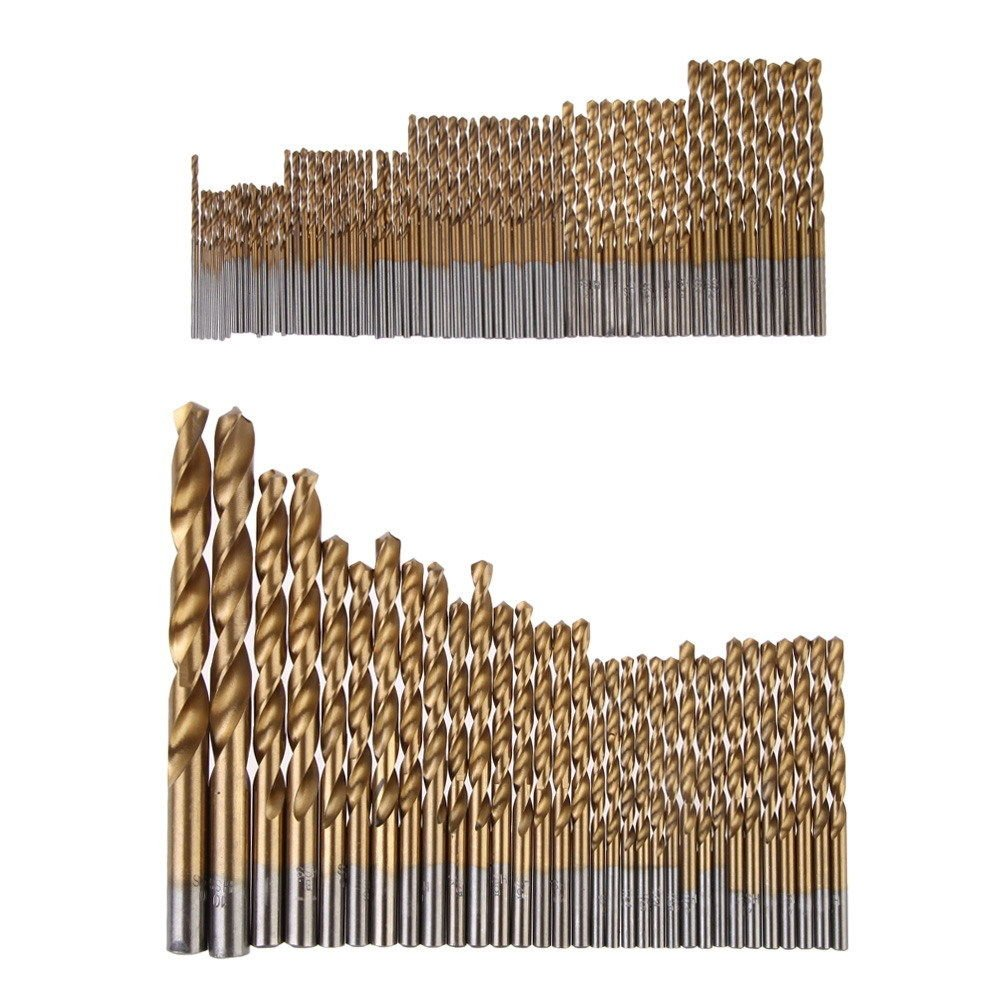 10mm NUZAMAS 99 Piece High Speed Titanium Coated Twist Drill bits Set with Carry Case Box Sizes 1.5mm