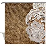 CafePress - shabby chic burlap lace Shower Curtain - Decorative Fabric Shower Curtain