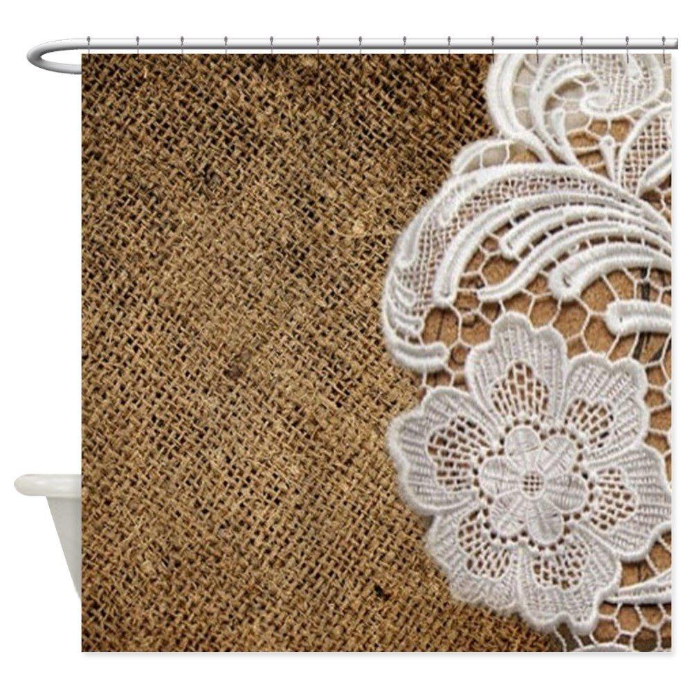 CafePress - Shabby Chic Burlap Lace - Decorative Fabric Shower Curtain (69x70)