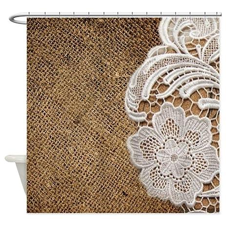 CafePress   Shabby Chic Burlap Lace Shower Curtain   Decorative Fabric  Shower Curtain