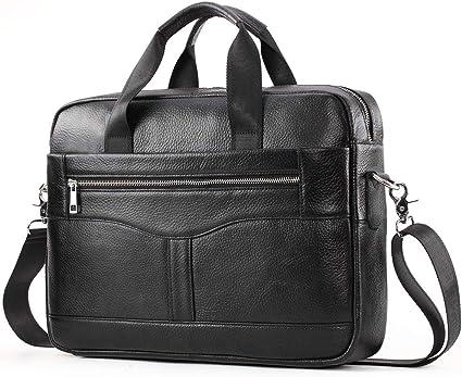 """Men/'s Real Leather 15.6/"""" Laptop Briefcase Satchel Messenger Shoulder Bag Handbag"""