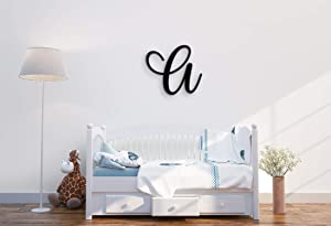 """Giant Wall Decor Letters Uppercase A   24"""" Wood Paintable Script Capital Letters for Nursery, Home Décor, Wedding Guest Book and More by ROOM STARTERS (A 24"""" Black 3/4"""" Thick)"""