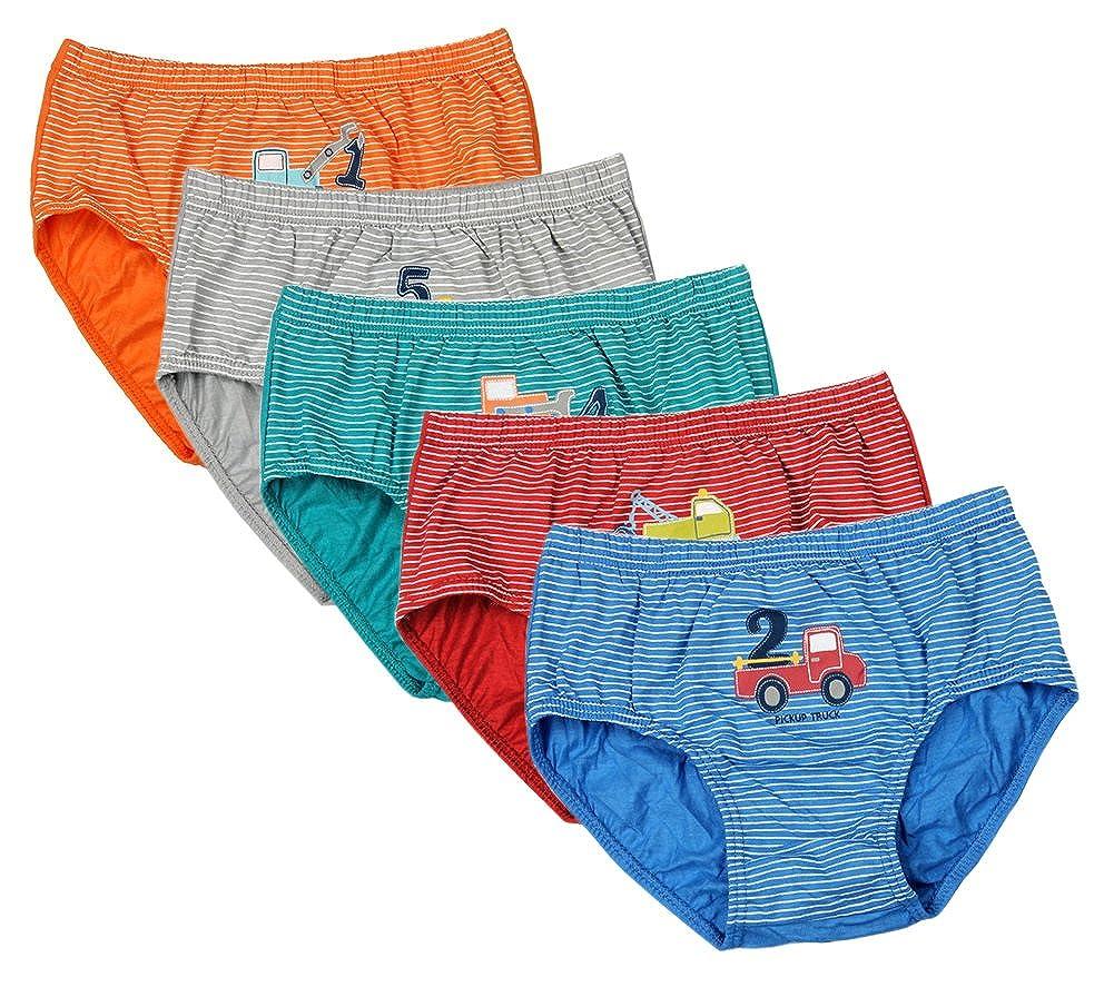 CHUNG Little Boys Toddlers Cotton Briefs Underwear Animal Dinosaur Car 5 Pack 2-11Y