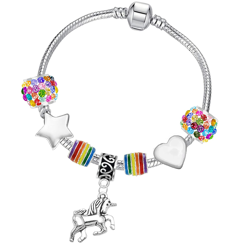 Girl's Rainbow Crystal Unicorn Charm Bracelet and Card Gift Set Charm Buddy ®