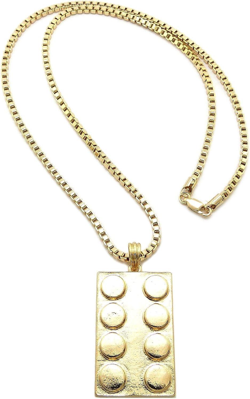 New Rectangle Block Shape Pendant /&3mm//24 Box Chain Hip Hop Necklace SP2BXG