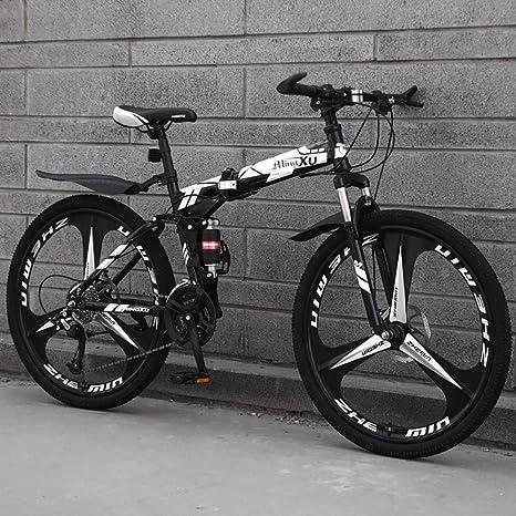 ZEIYUQI Bicicleta Plegable Adulto Rueda De 26 Pulgadas Los Frenos De Disco Dobles Son Más Seguros De Manejar Adecuado para Viajes Cortos,Blanco,27 * 24