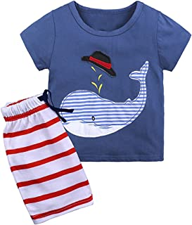LOOLY Little Boys Summer Cotton Short Sleeve Clothing Sets
