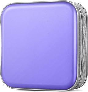 Bivisen CD Case, DVDs Wallet Holder, CD/DVD Case Wallet 40 Discs Heavy Duty Bag Binder Storage Booklet Album (Light Purple)