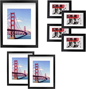 Vsadey 7 Pack Picture Frames Collage Wooden Photo Frames Wall Gallery Kit for Wall and Home with Mat, One 11x14 in, Two 8x10 in, Four 5x7 in, Black