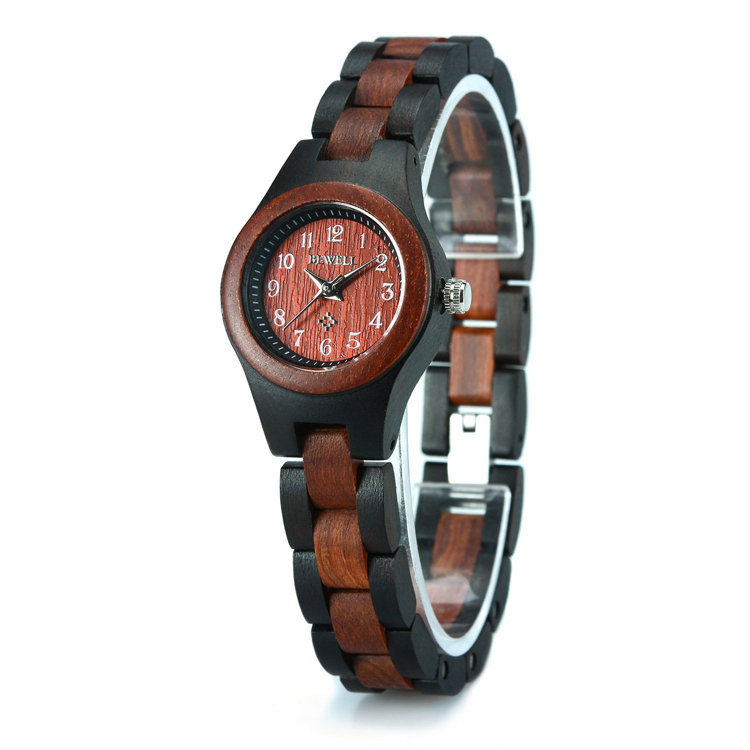 Bewell Wood Watch Lightweight with Arabic Numeral Scale Wrist Watch for Women W123A (Black and Red Wood)