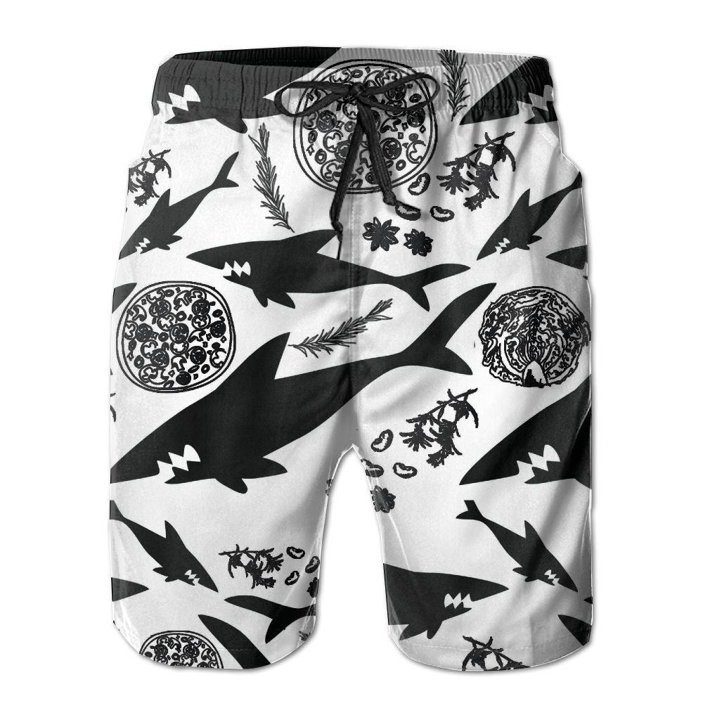 White Men Quick Dry Summer Summer Summer Swim Wear Pizza Shark ef8f84