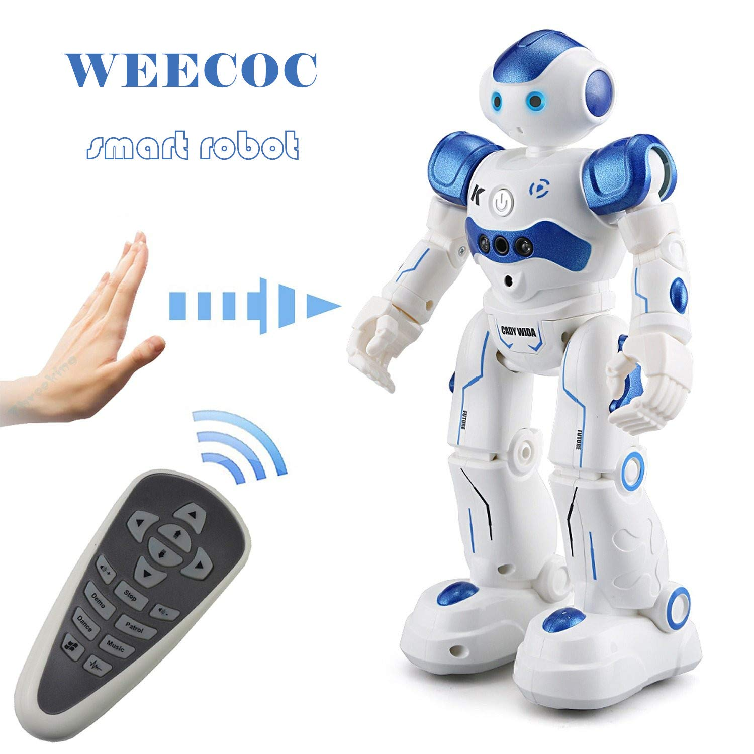 WEECOC Smart Robot Toys Gesture Control Remote Control Robot Kids Toys Birthday Can Singing Dancing Speaking Two Walking Models (White) by WEECOC (Image #1)