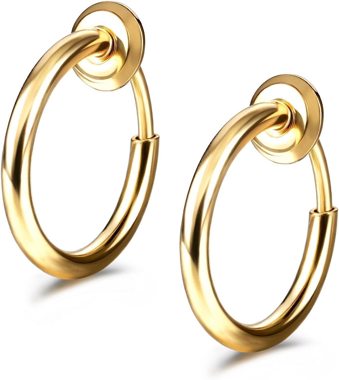 24pcs Spring Action No Piercing Fake Septum Lip Earring Nose Hoop Clip-On