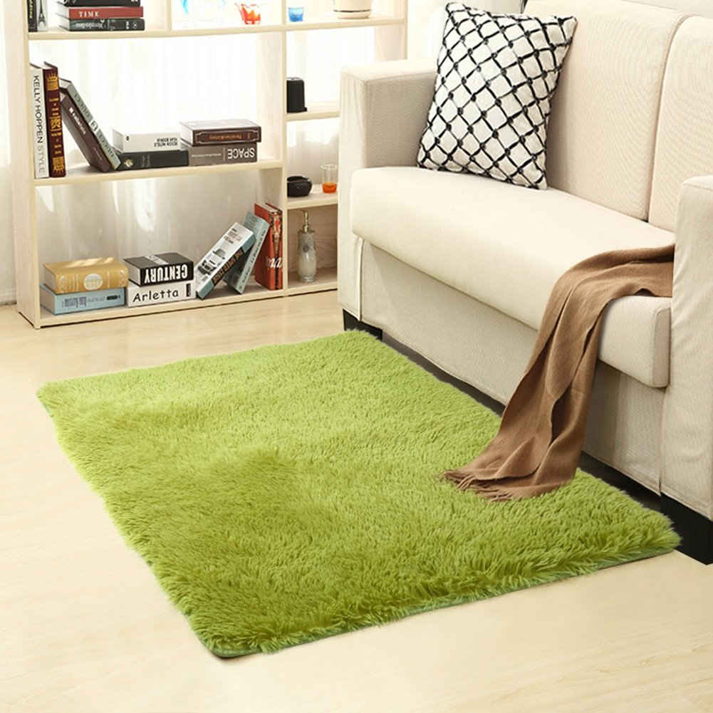 Queenmore Shag Modern Indoor Outdoor Area Rugs, Ultra Soft Runner for Living Room Sitting Room Nursery Room Office with Non-Skid Grips 31.2''X46.8'' Grass Green