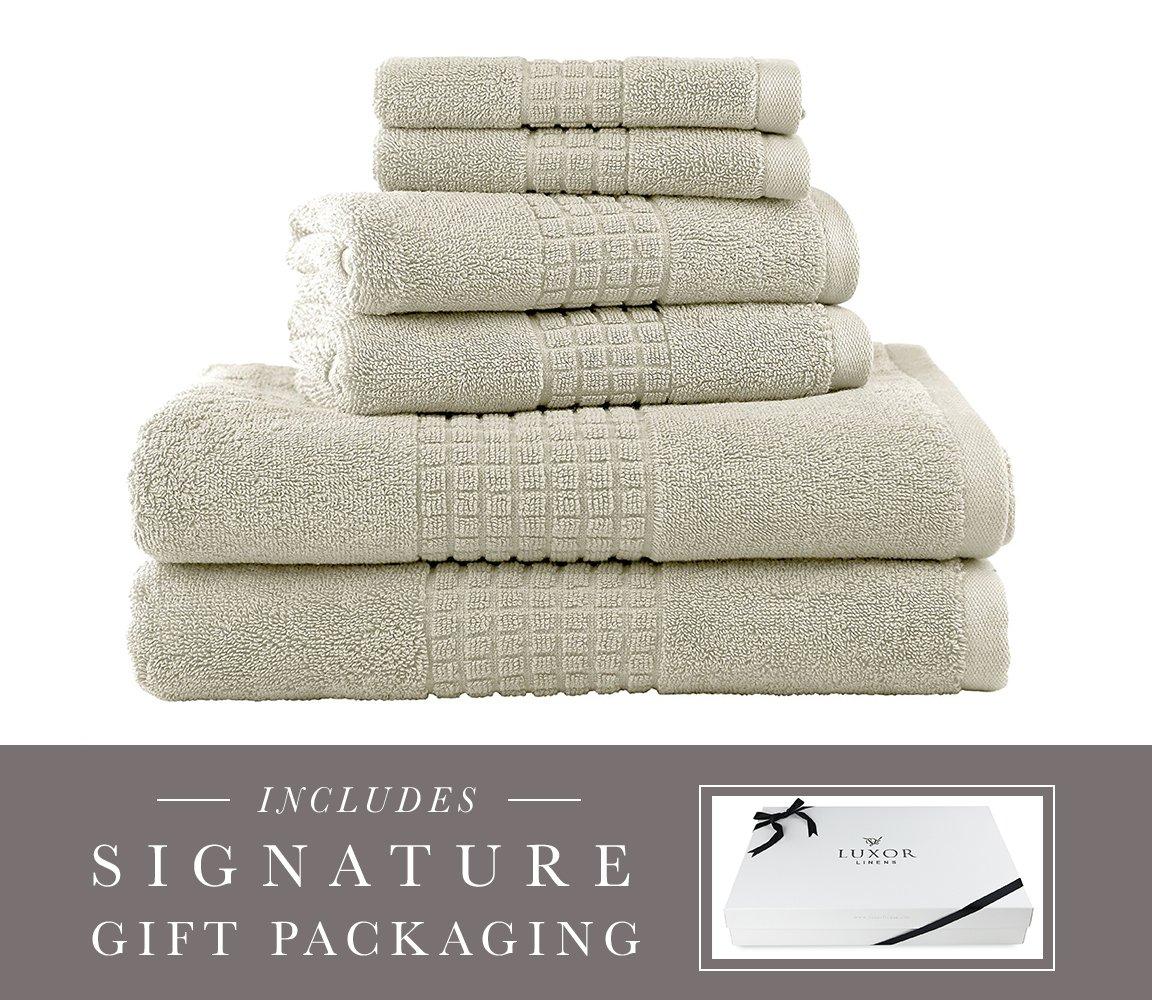 Luxorリネン新しい到着Valentinoホテルコレクションエジプト綿100 % 750 gsmラグジュアリーソリッド6タオルセット – ソフト、丈夫、プラッシュ、吸収性&クイック乾燥 6-Piece Towel Set ベージュ B0161SBK9Y クリーム 6-Piece Towel Set