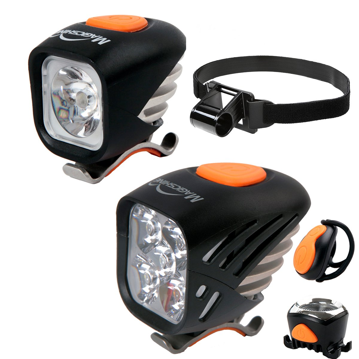 Magicshine Extreme MTB Enduro LED Bicycle Lights, Mountain Bike Lights Combo, 5000 Max Lumen Handlebar Light, 1200 Max Lumen Cree Headlamp with Helmet Strap Enduro Trail Offroad by Magicshine