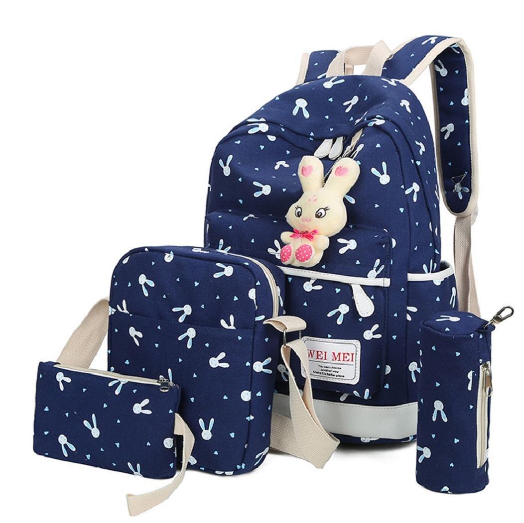 Rovinci 4 PCS Mädchen Kaninchen Tiere Reiserucksack Schulranzen Schultertasche Handtasche (Blau)