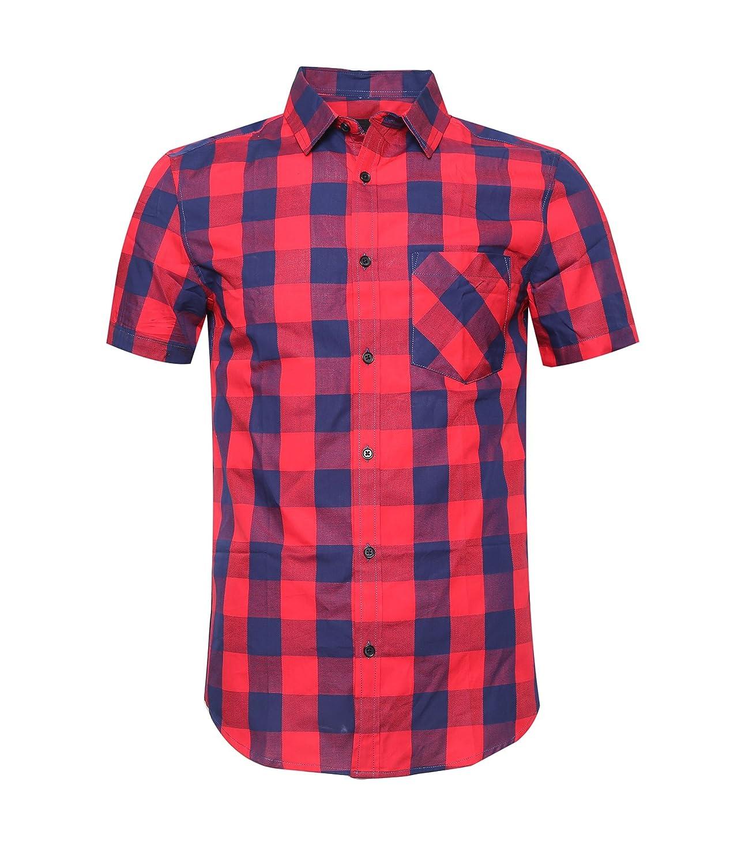 Deborri Men Plaid Cotton Casual Short Sleeve Button Down Dress Shirts Red/&Blue3XL