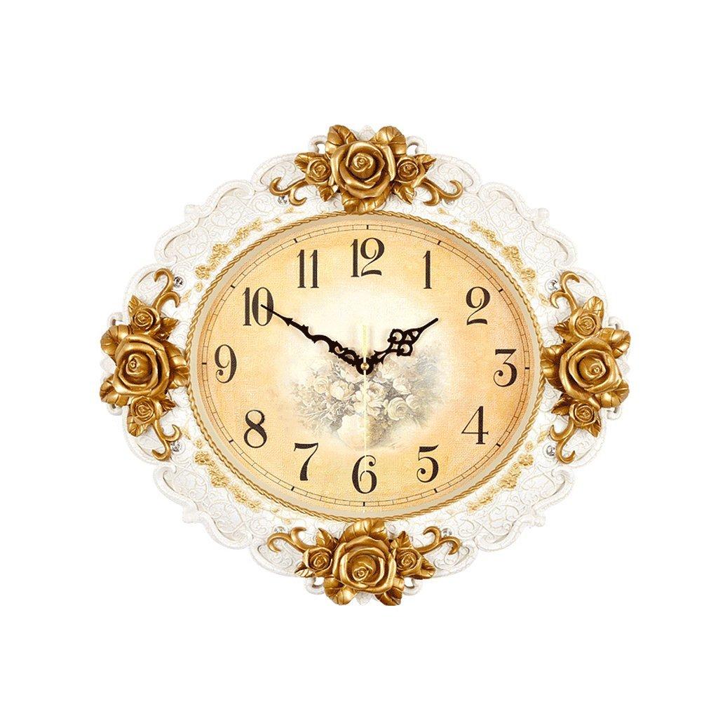 掛け時計 ヨーロッパスタイルのヴィンテージウォールクロックラージ20インチの彫刻現代ファッションの居間クリエイティブシンプルなクォーツ時計 Rollsnownow (色 : 白) B07F2DKNKJ 白 白