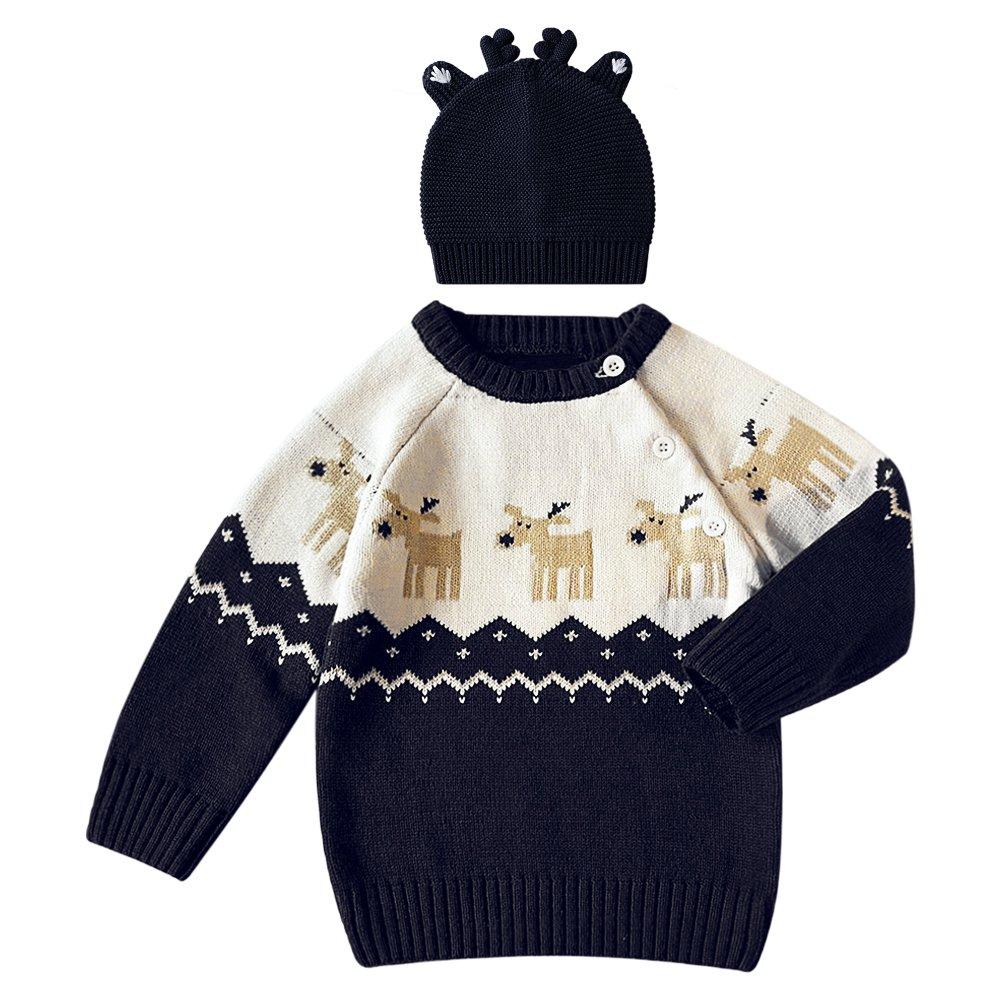 Petalum 2pcs Kleinkind Pullover Winter Weihnachten Strick Elch Hirsche Muster Knit Sweater Rundhals Langarm Christmas Outwear Kinder Bekleidung Gr. 65-110