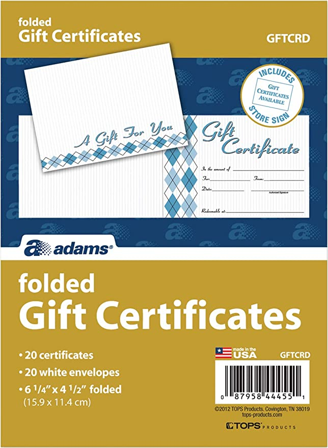 20 Folded Cards and Envelopes GFTCRD 6.25 x 4.50 Inches White Adams Gift Certificate Cards