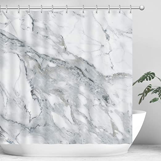 Sketch Drawing Lakeside Boat Shower Curtain Bathroom Decor Fabric /& 12hooks
