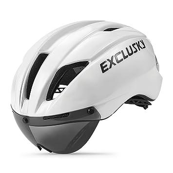 Exclusky In Mould Casco de Ciclismo para Adultos Bici Deportes con Gafas 57-61cm