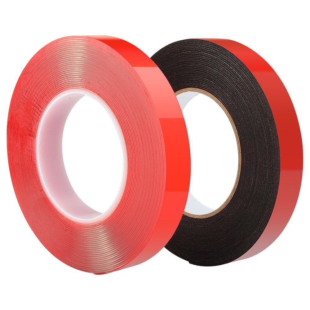 2 Rollen 25 mm x 10 M Doppelseitiges selbstklebendes Supper Tape - Transparentes Red Line Tape + schwarzes PE-Schwammband ASIV