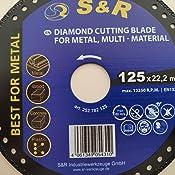 Plastico Corte Metal Madera S/&R Disco 125 Diamantado para Amoladora Muela de corte Universal Hierro