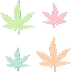 Vibe Glow in The Dark Multicolor Marijuana Weed Pot Leafs, 24 Piece