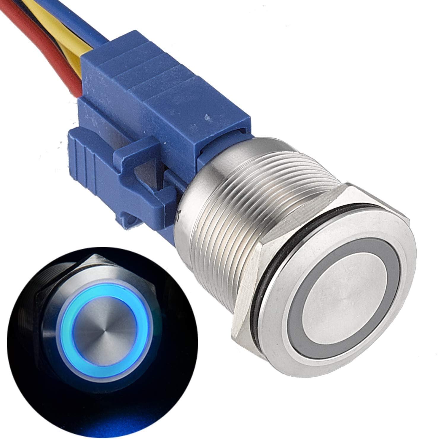 APIELE [3 year warranty] 22mm Latching Push button Switch 12V Angel Eye Ring Light LED Waterproof Stainless Steel Round Metal Self-locking 7/8'' 1NO 1NC (Blue)