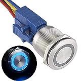 APIELE 22mm Latching Push Button Switch 12V Angel Eye Ring Light LED Waterproof Stainless Steel Round Metal Self-Locking 7/8'