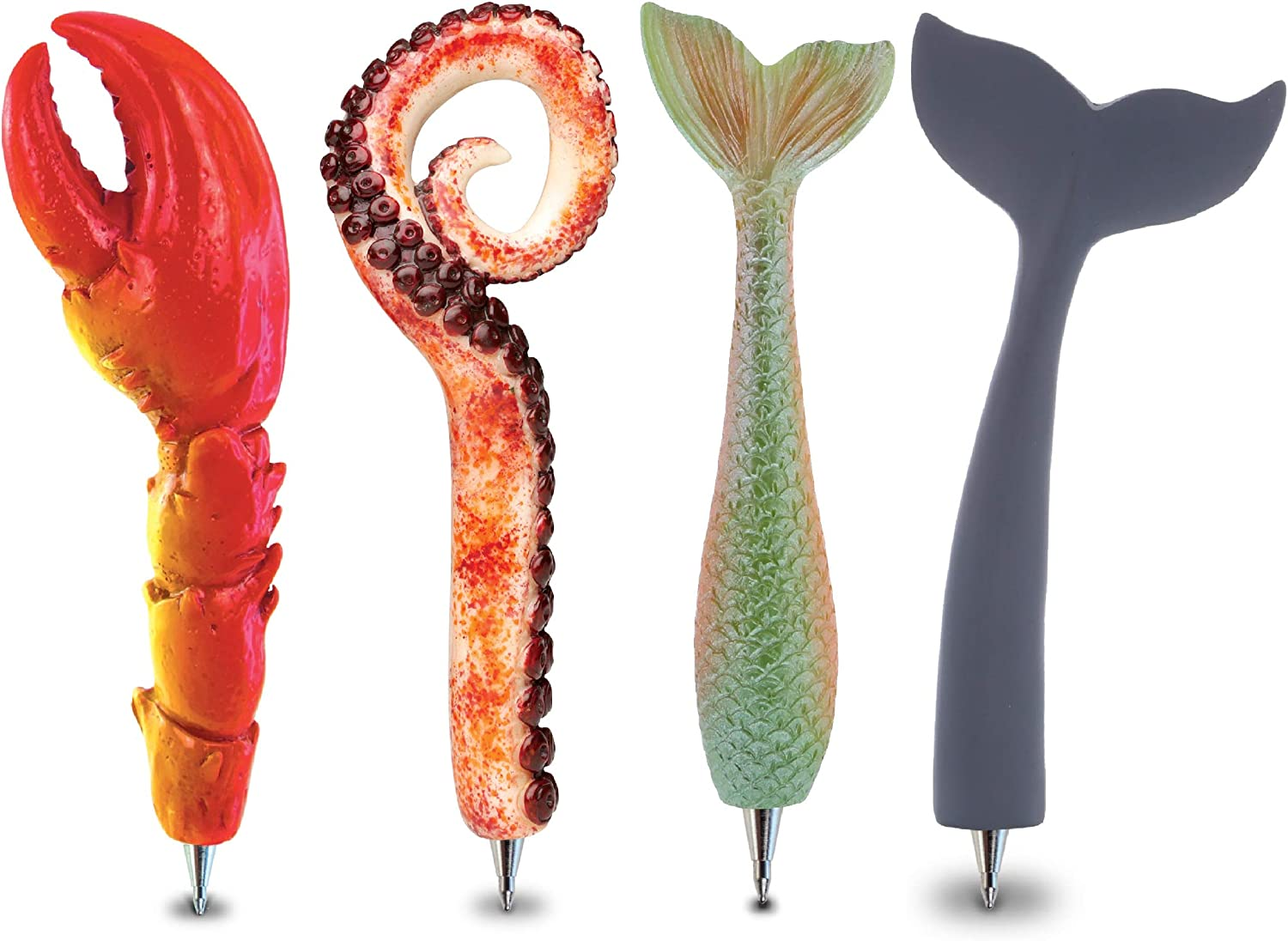 Planet Pens Bundle of Crab Claw, Octopus Arm, Mermaid Tail, Whale Tail Novelty Pens - Unique Office Supplies Ballpoint Pens Colorful Sea Life Writing Pens Instrument For School & Office Decor - 4 Pack